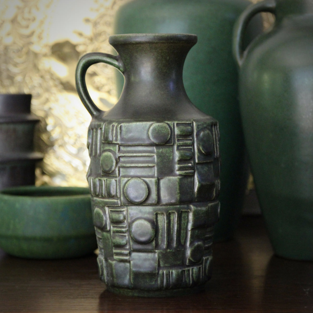 Dark Green Cubist Pitcher