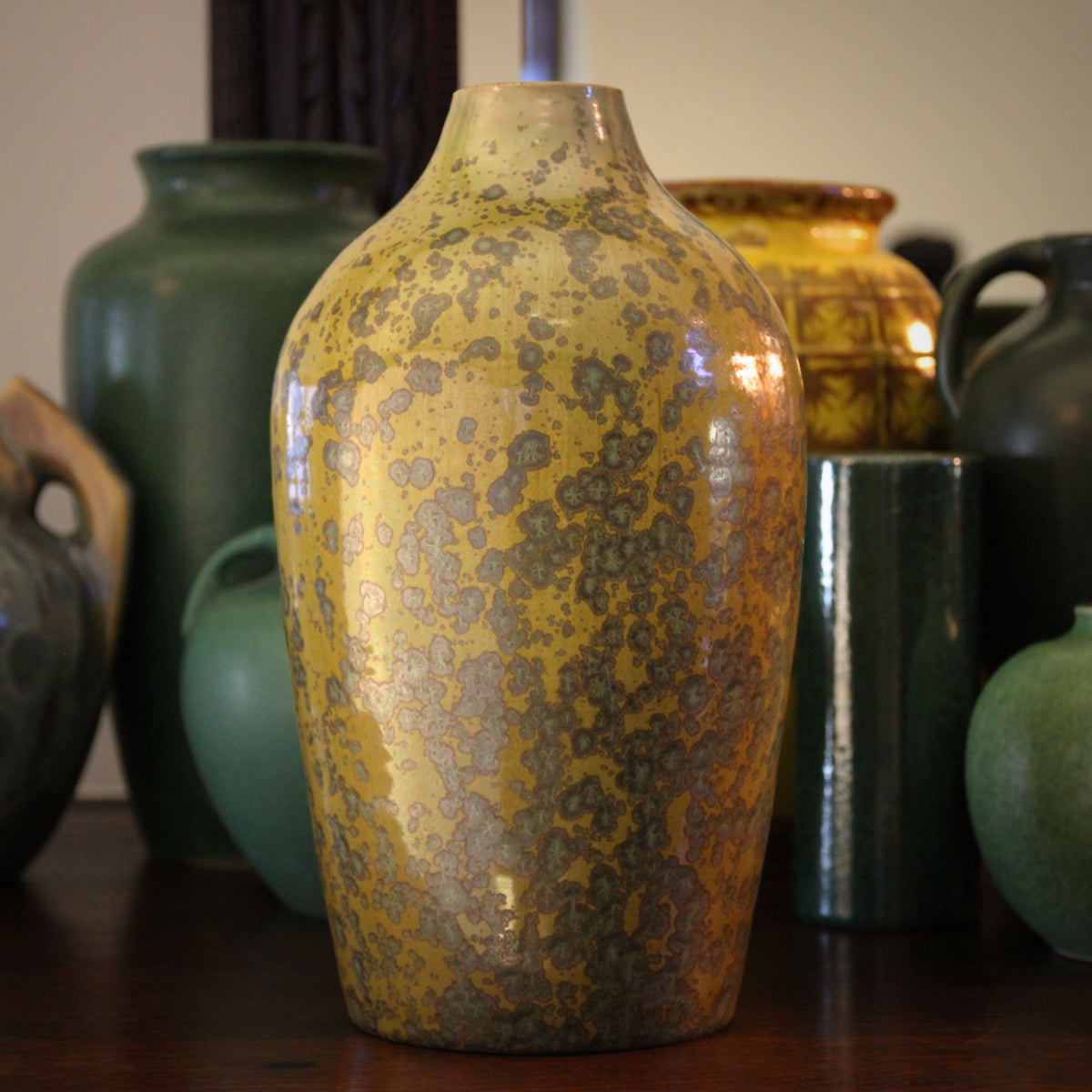 Olive & Metallic Crystal Vase