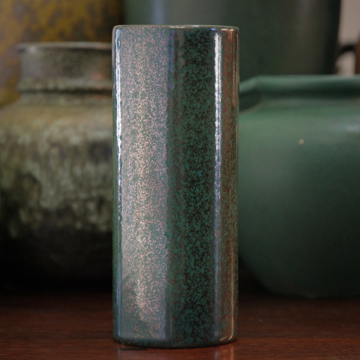 Gunmetal & Green Vase