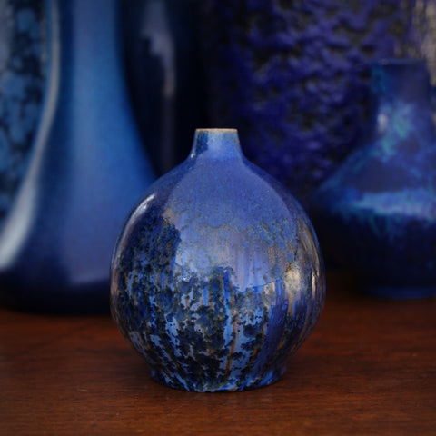 Blue Crystalline Vase by Schmidt-Tummeley (Juist Island, Germany)