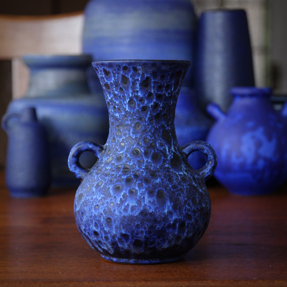 Dappled Blue & White Vase