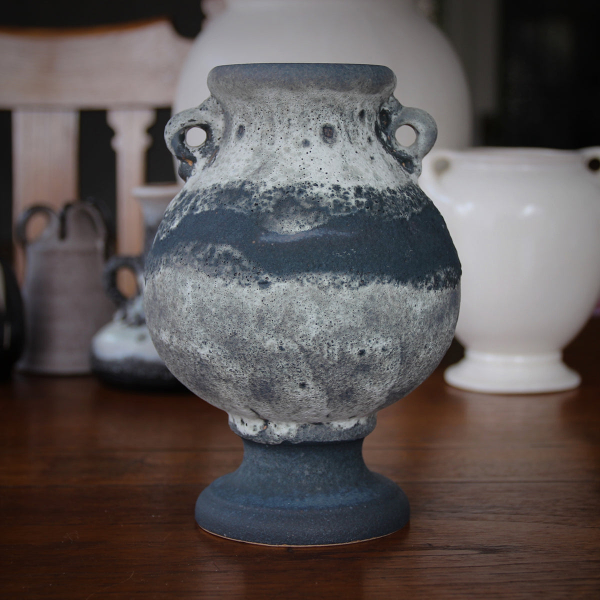 Grey & White Pedestaled Urn