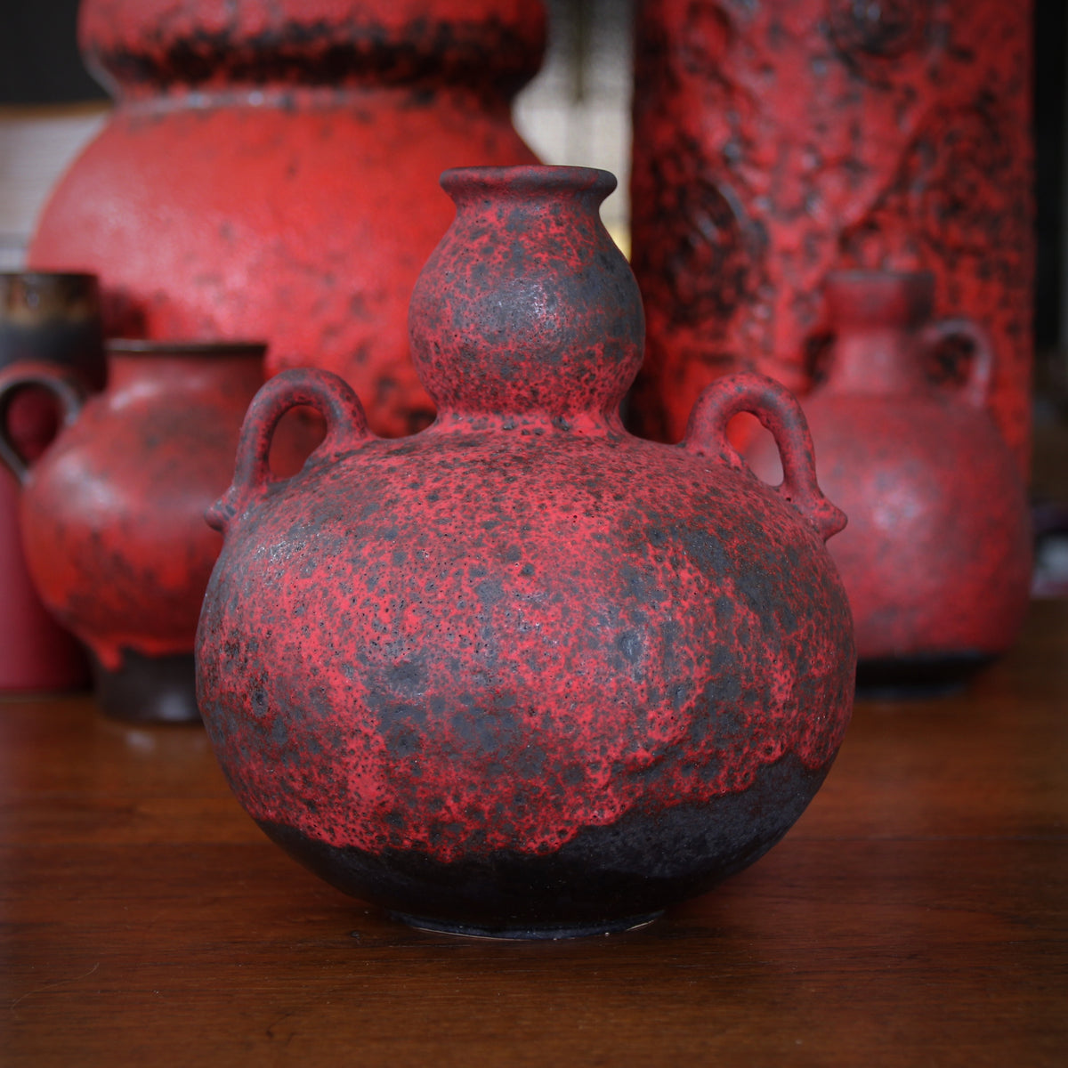 Red Double Gourd-Form Vase