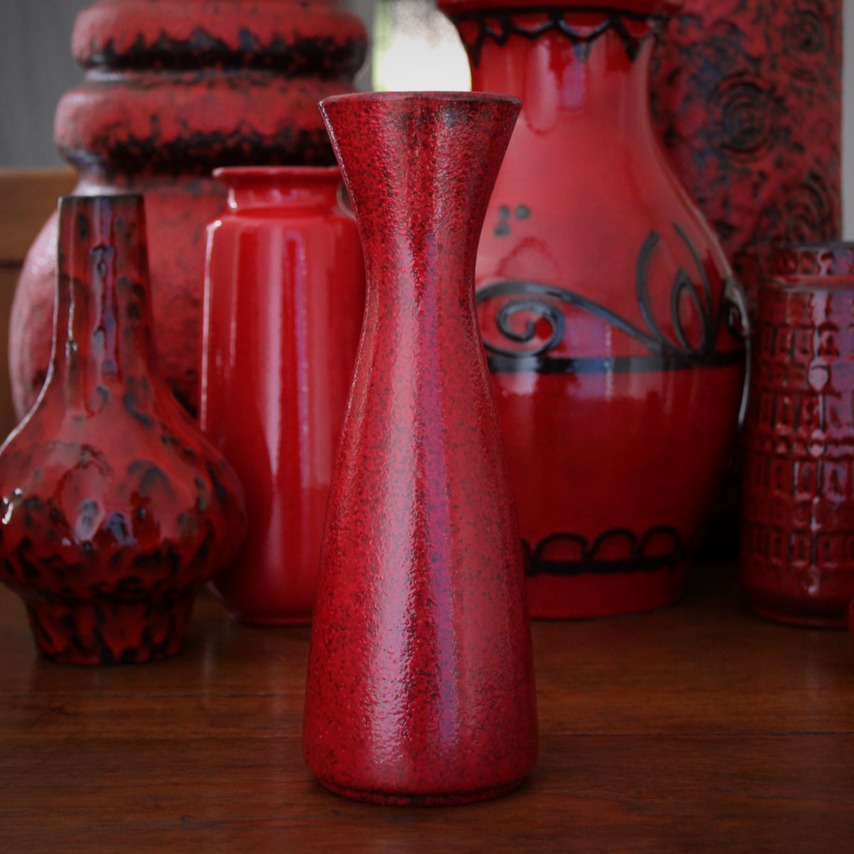 Red Modernist Carafe Vase