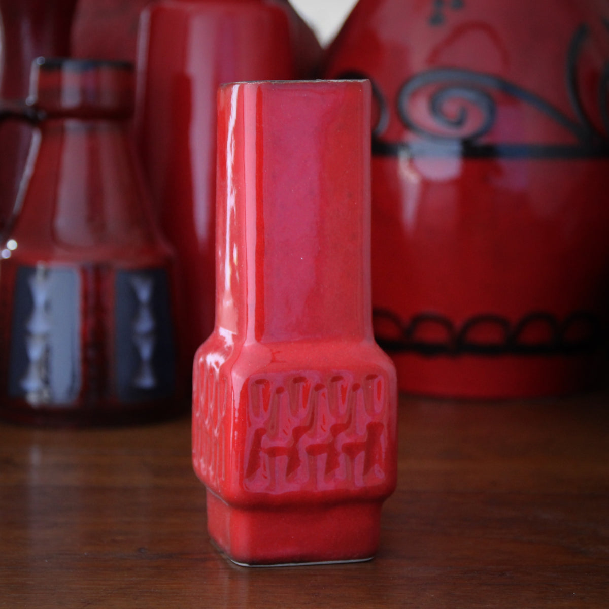 Red Modernist Bud Vase