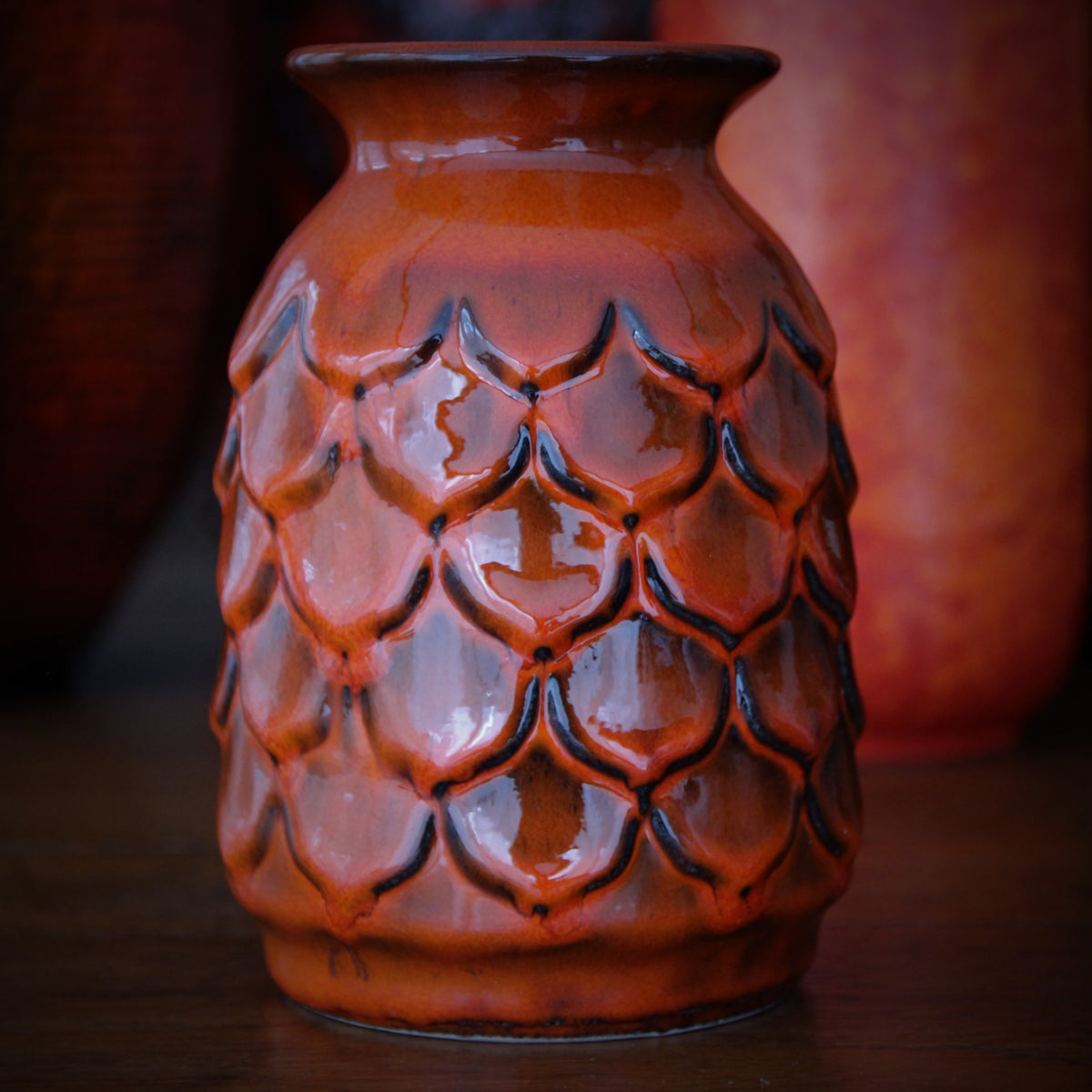 Orange Fishscale Vase