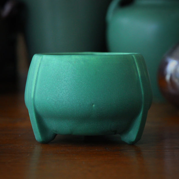 Triple-Footed Matte Green Bowl