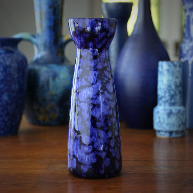 Dappled Blue Bulb Vase