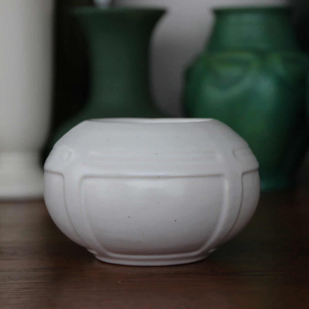 Art Deco Matte White Bowl