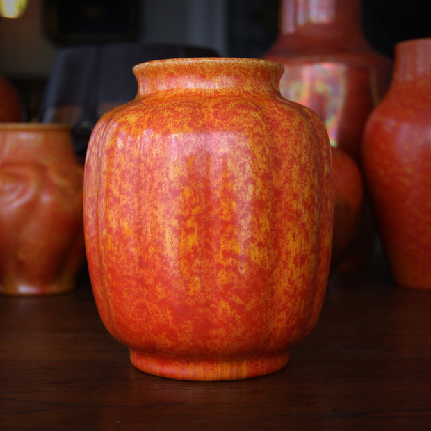 English Orange Ribbed Gourd Vase