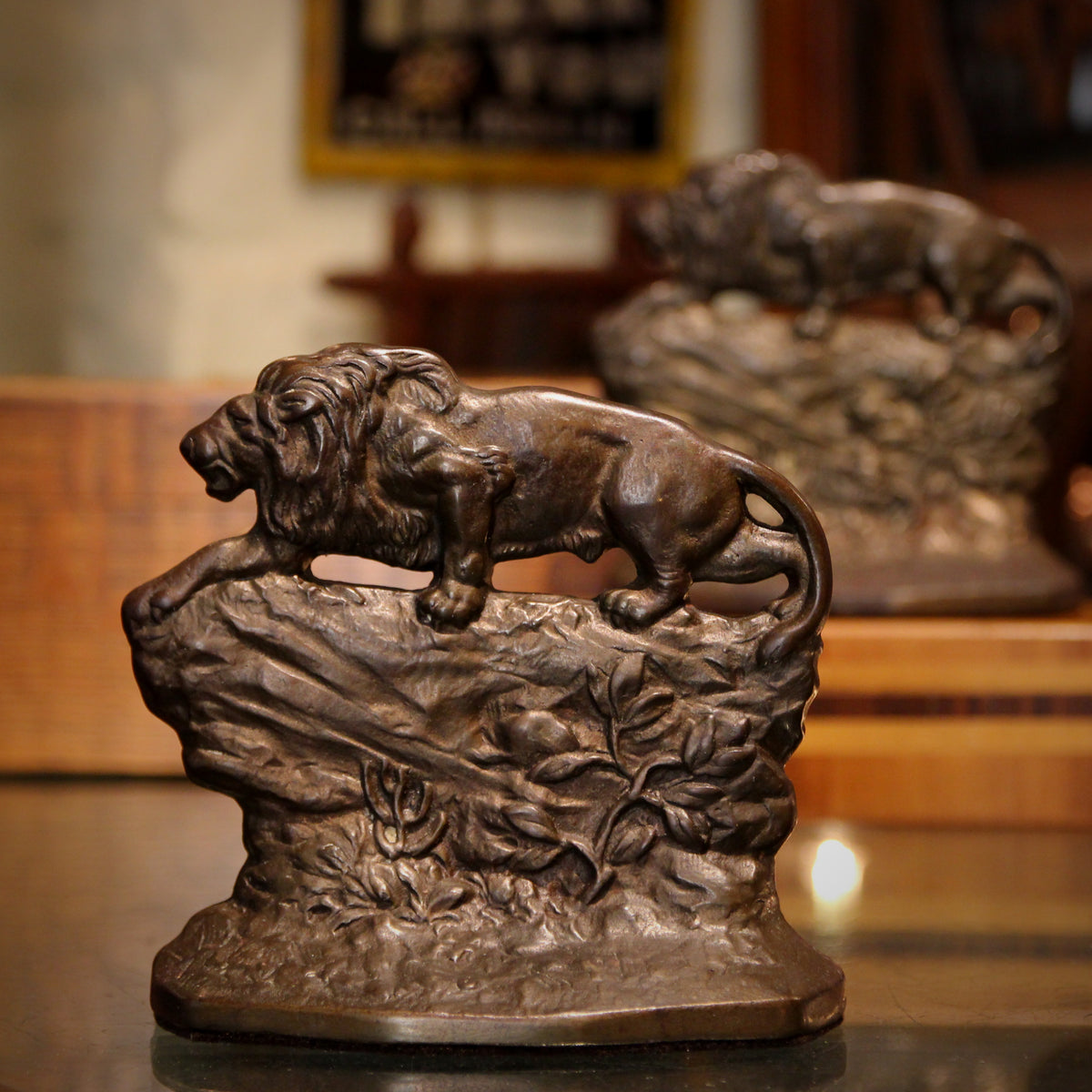 Crouching Lion Bookends