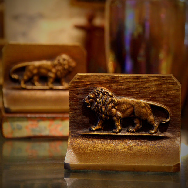 Golden Lions Bookends