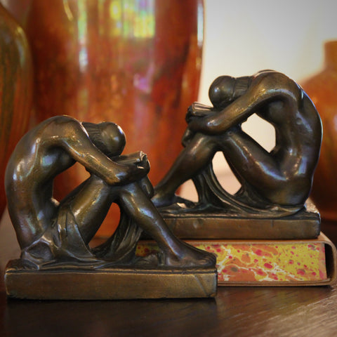 "Bronze-Clad ""Solitude"" Male Nude Bookends (LEO Design)"