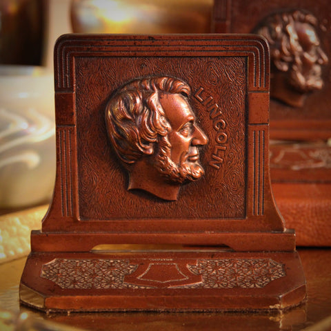 Twenties Cast Iron Bookends with Abraham Lincoln Bas Relief (LEO Design)
