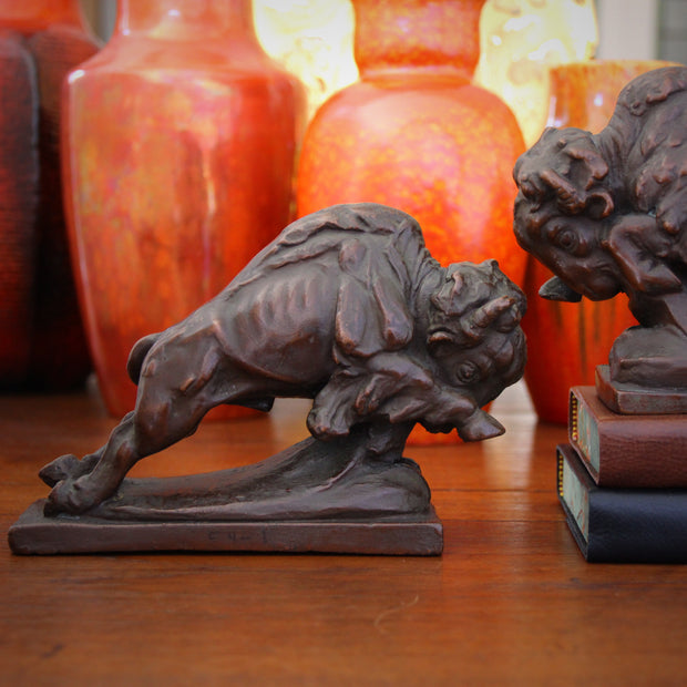 Charging Bison Bookends
