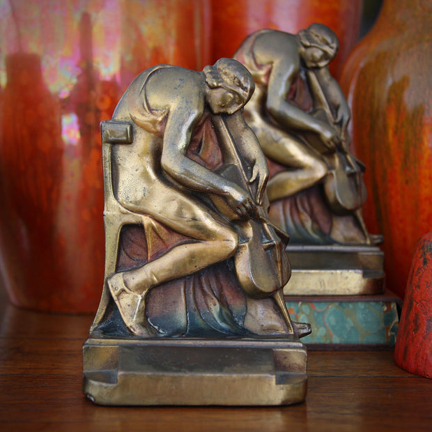 "Art Deco ""Cellist"" Bookends"