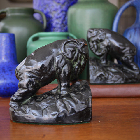 """Bronze-Clad """"Working Elephant"""" Bookends with Black Japanned Finish (LEO Design)"""