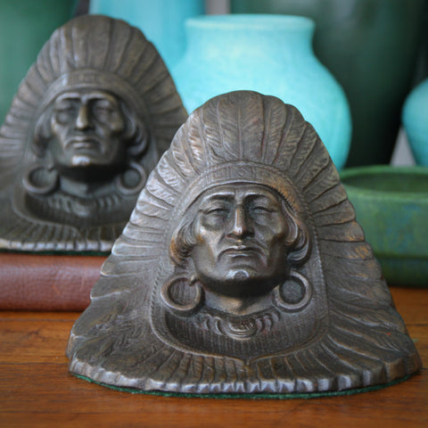 Large Cast Iron Indian Portrait in Full Headdress Bookends by Judd (LEO Design)