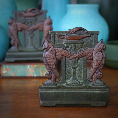"""Cast Iron """"Lamp of Wisdom"""" Bookends with Sentry Owls (LEO Design)"""