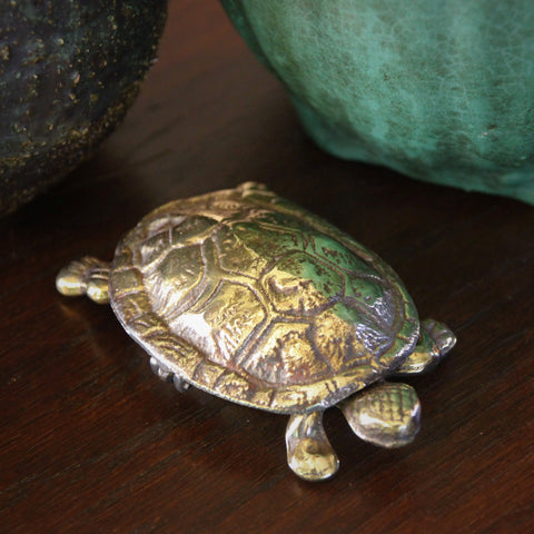 Edwardian English Brass Turtle Box (LEO Design)