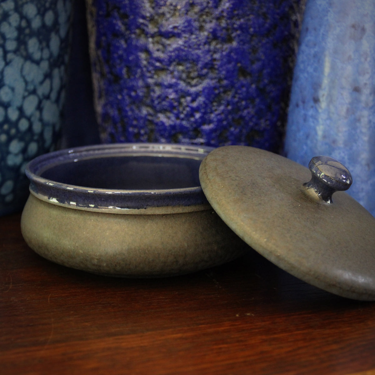 Black & Blue Covered Bowl
