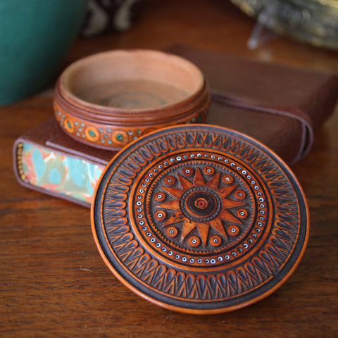 Ukrainian Hand-Carved Folk Art Dresser Box with Inset Glass Beads