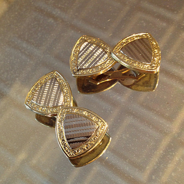 Triangular Mixed-Metal Cufflinks