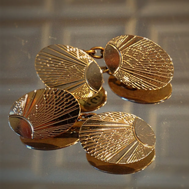 Golden Sunrise Deco Cufflinks