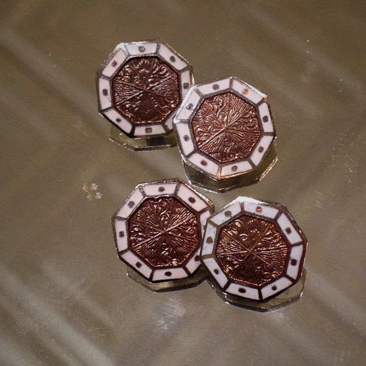 Enameled Shield Cufflinks