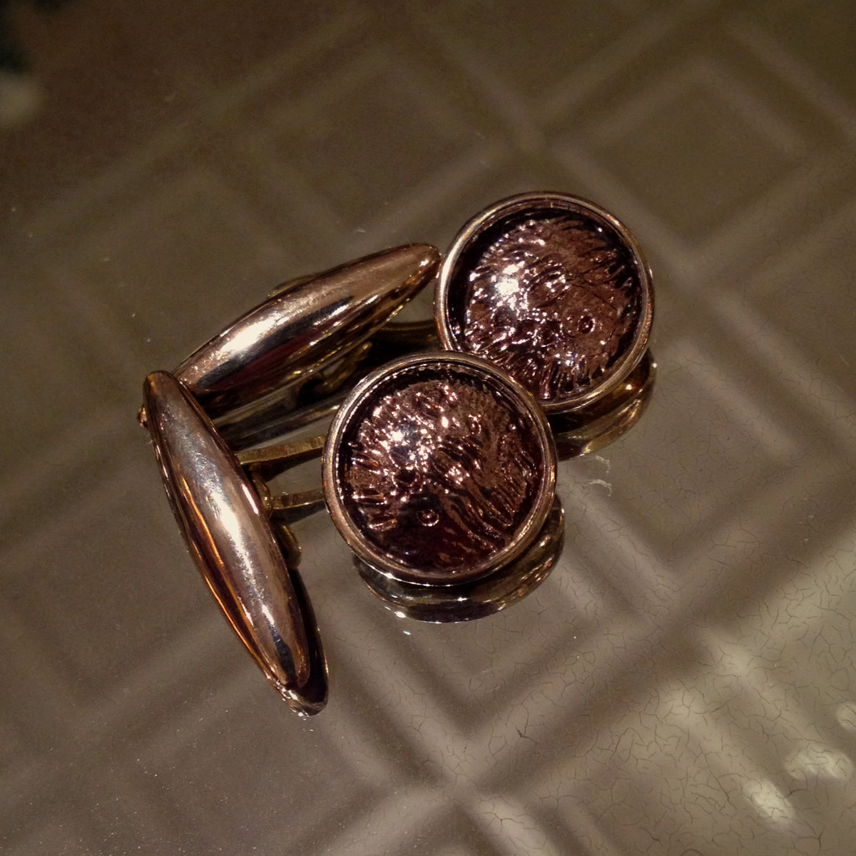 English Bronze Foil Cufflinks