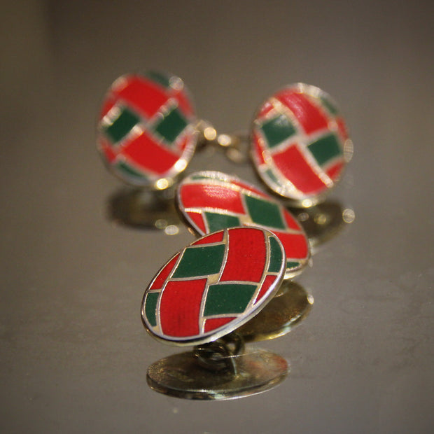 "Red & Green ""Ribbon"" Cufflinks"