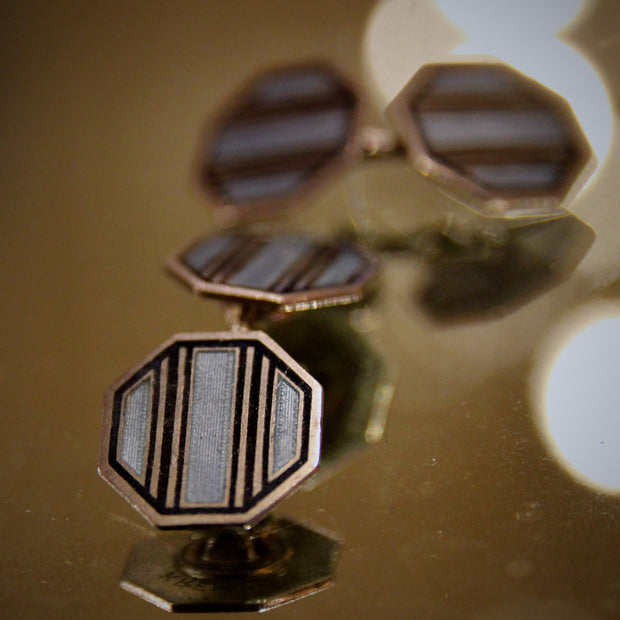 Sterling Striped Cufflinks
