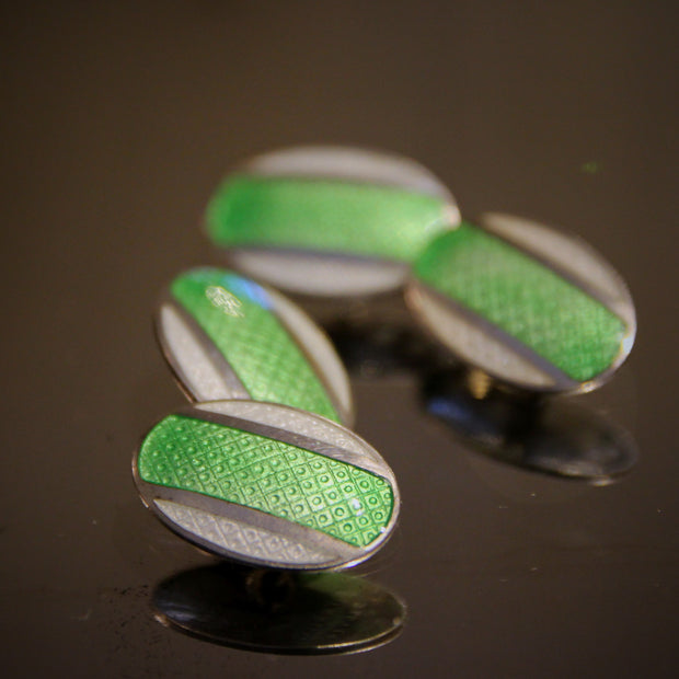 White & Lime Sterling Cufflinks