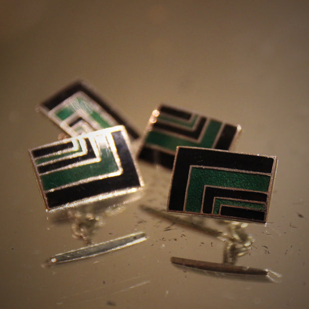 Deco Green & Black Cufflinks