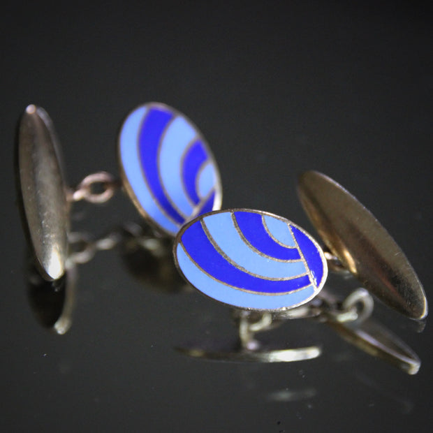 "Deco ""Blue Wave"" Cufflinks"
