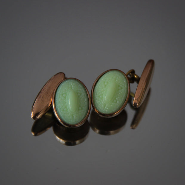 English Jade Artglass Cufflinks