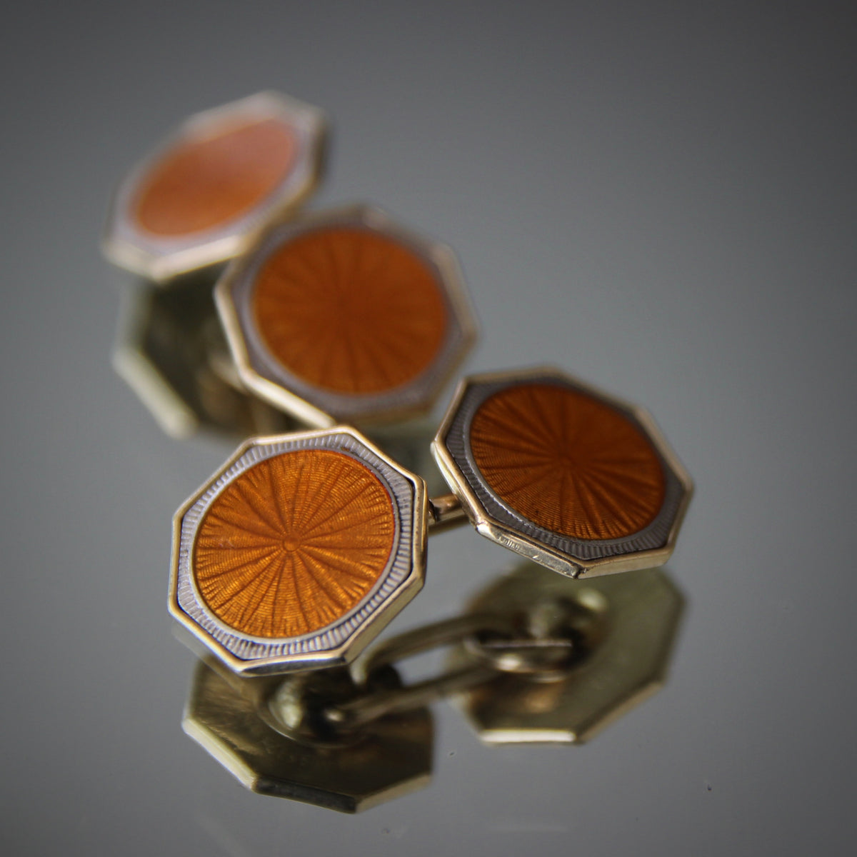 Amber Enameled Cufflinks