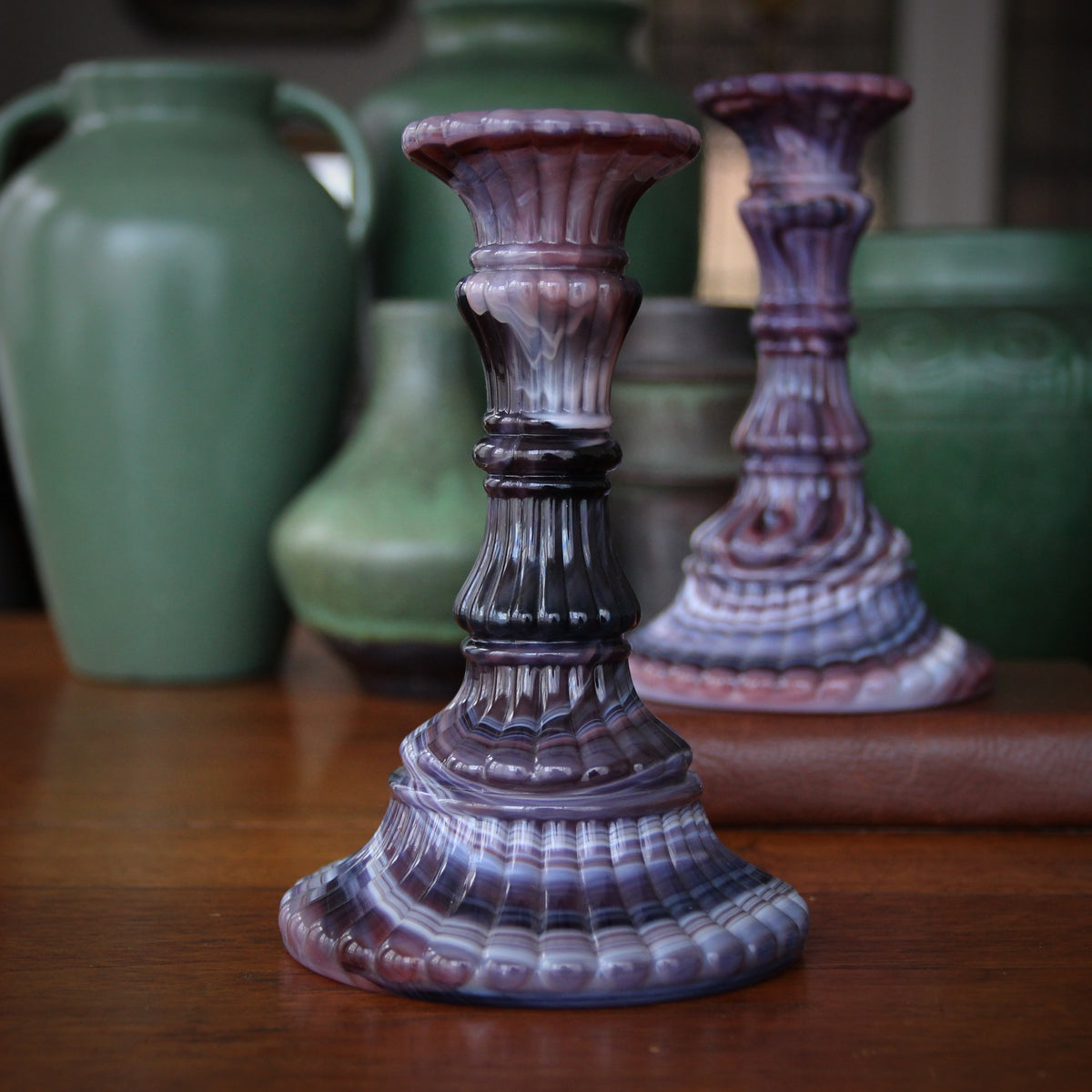 Amethyst Slag Glass Candlesticks