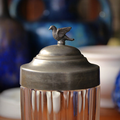 Faceted Glass Tobacco Jar with Pewter Domed Lid and Flying Dove Finial