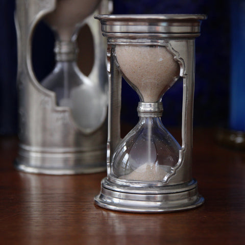 Italian Sand Cast Pewter Minute Glass