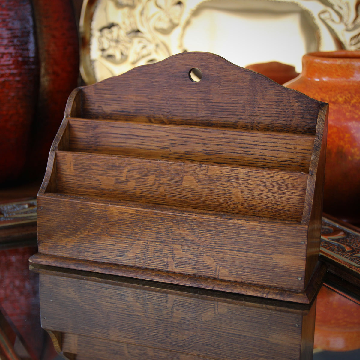 English Oak Letter Rack