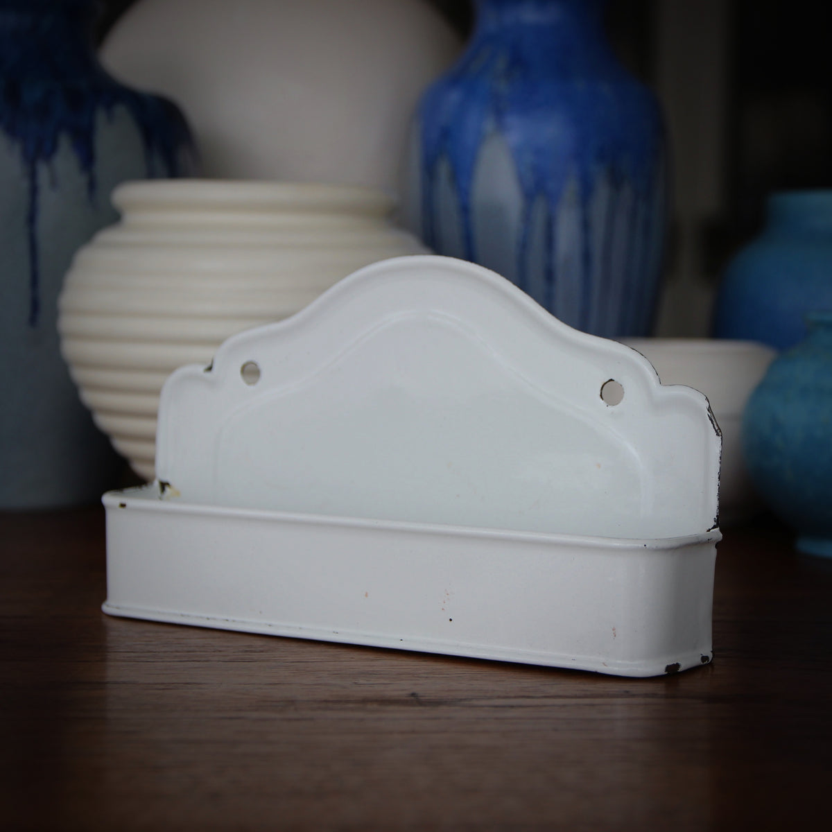 French Enameled Wall Caddy