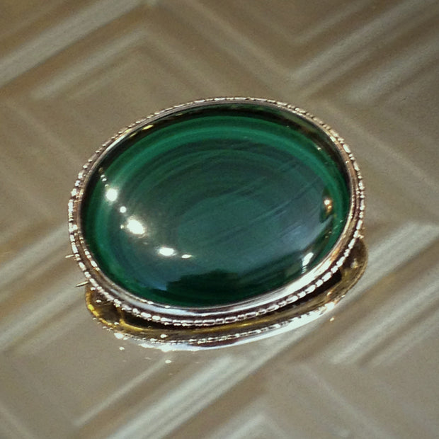 English Malachite Brooch