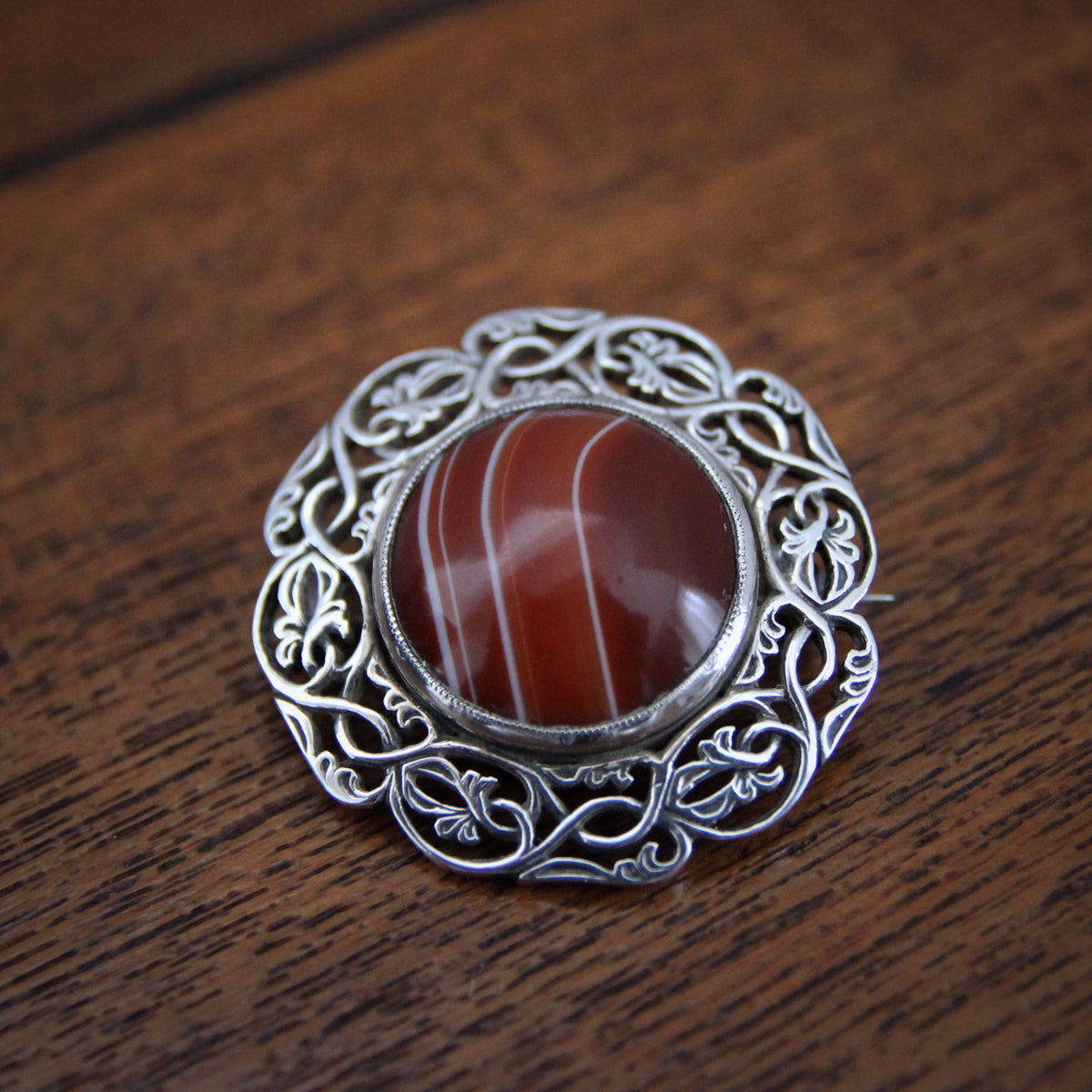 Iona Scottish Silver & Agate Pin