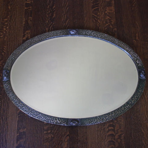 English Arts & Crafts Bevelled Oval Mirror with Hammered Brass Frame with Silvered Finish (LEO Design)