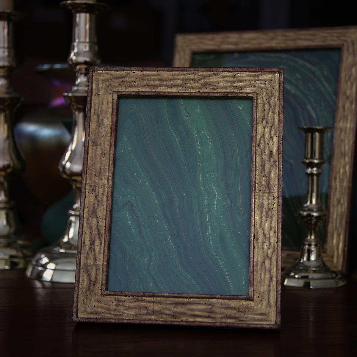 Gold Leaf Frame with Bark Texturing (5x7)