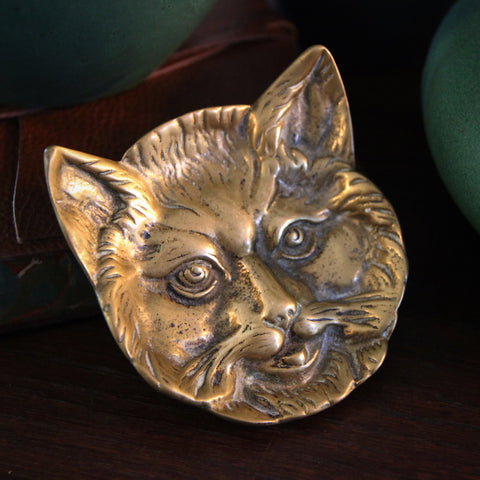 Edwardian English Brass Cat Plate (LEO Design)