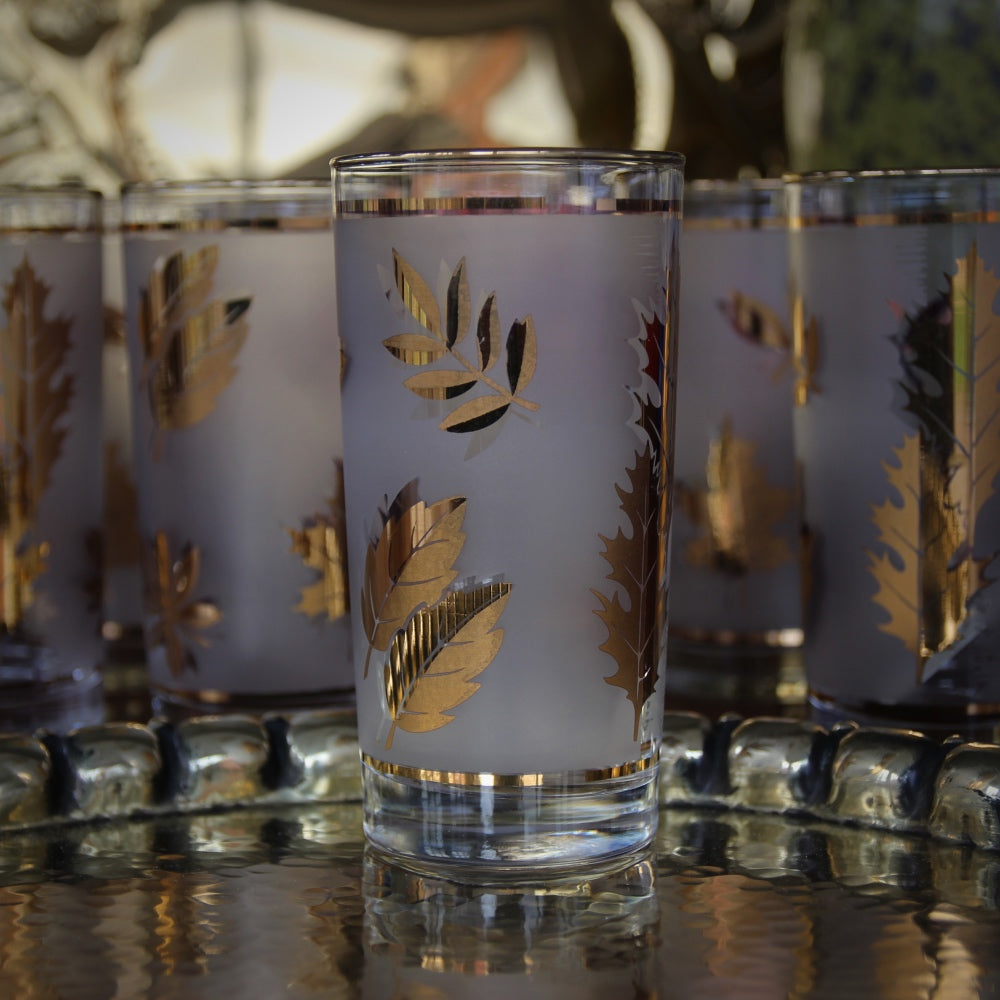 Golden Leaves Highball Glasses