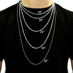 Handmade Men's Necklace Lengths Size Chart on Model