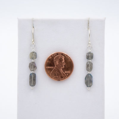 Size of Earth Song Jewelry Blue Flash Labradorite Sterling Silver Earrings Handmade